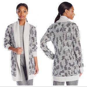 NYDJ Grey Animal Print Drop Longline Cardigan, XS
